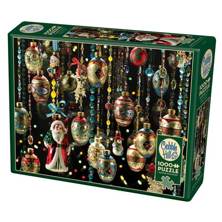 Cobble Hill: Christmas Ornaments 1000 Piece Jigsaw Puzzle - Puzzle Piece Ornaments