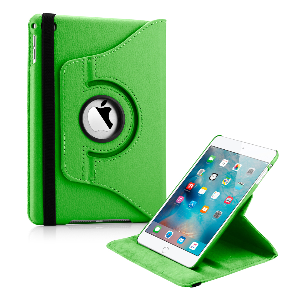 360 Degree Rotating PU Leather Cover Smart Case Swivel Stand for Apple iPad Mini 4 - Green