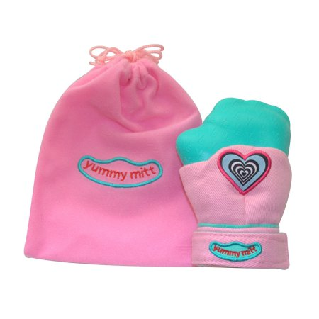 Yummy Mitt  Teething Mitten   Non Glow  Pink   Turquoise   3 12 Months Baby Mitten   No More Dropping Teether