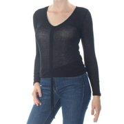 ULTRA FLIRT Womens Black Ruched Long Sleeve V Neck Top Juniors  Size: M