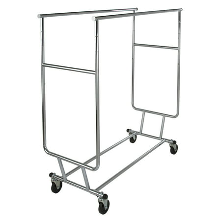275 LB Capacity Heavy Duty Econoco Double Hangrail Rolling Clothes Rack - Collapsible Clothing Rack, Commercial Grade Clothing Display, Round Tubing Rolling Rack, Chrome
