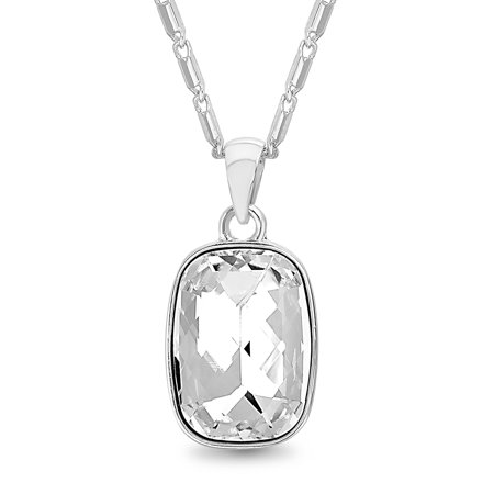 Lesa Michele Women's Faceted Crystal Bezel Set Rectangle Shaped Pendant 18