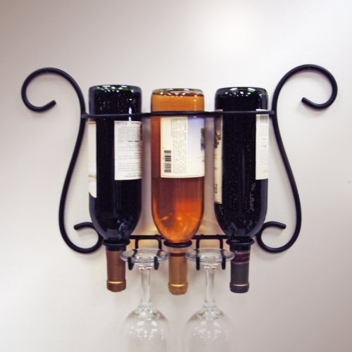 J & J Wire Simple Wall Wine & Glass Holder
