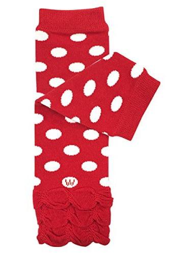 ALLYDREW Stripes, Polka Dots & Chevron Baby Leg Warmer & Toddler Leg Warmer for Boys & Girls, Red