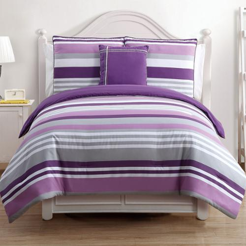 VCNY  Ava Purple Stripe Reversible 4-piece Cotton Comforter Set
