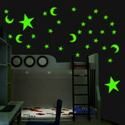 200Pcs Glow In The Dark Cute 3D Star Moon Wall Sticker Home Ceiling Decor Room Decal Mural Art DIY Non-toxic Christmas Gift