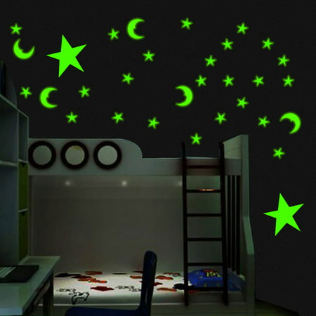 200Pcs Glow In The Dark Cute 3D Star Moon Wall Sticker Home Ceiling Decor Room Decal Mural Art DIY Non-toxic Christmas Gift](Glow In The Dark Decorations For Room)