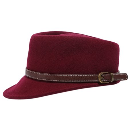 Women Ladies Vintage Fedora Hats Flat Wool Hat Baseball Winter Automn Cap Hat with Belt