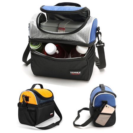 Dual Compartment Lunch Box - Thermal Insulated Dual Compartment Lunch Bag for Men, Women | Double Deck Reusable Lunch Box with Shoulder Strap, Leakproof Liner | Medium Lunch Box for School, Work, Office