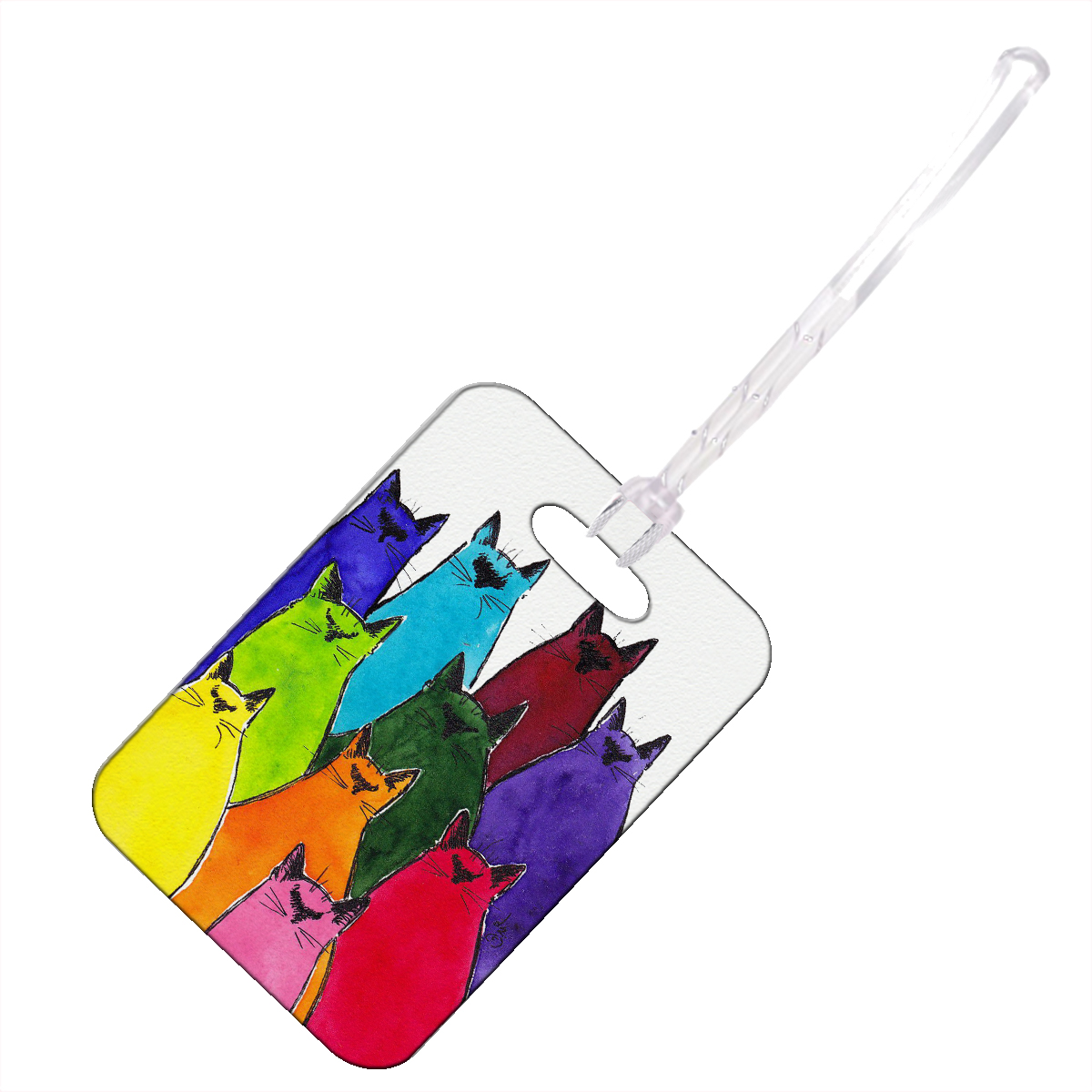 KuzmarK Luggage Travel Bag Tag -  Siamese Kittes in Crayon Colors Abstract Cat Art by Denise Every