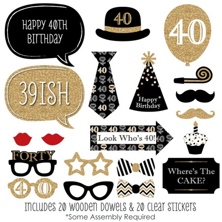 Adult 40th Birthday - Gold - Birthday Party Photo Booth Props Kit - 20 Count - 40th Birthday Party Ideas For Wife