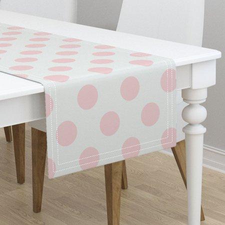 Table Runner Polka Dot Polka Dot Pale Pink Polka Dot Pink White Cotton Sateen - Pink Polka Dot Table Runner