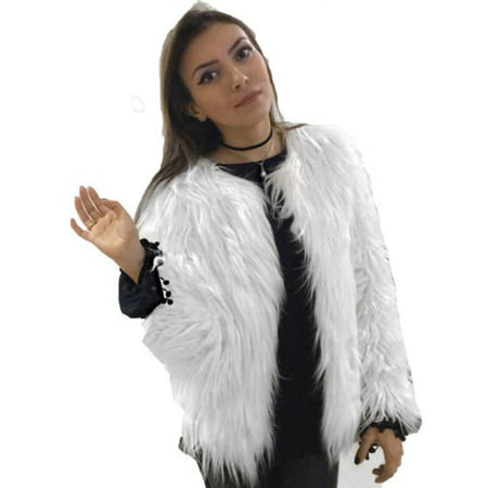 Womens Plus Size Warm Winter Loose Faux Fur Parka Coat Overcoat Long Sleeve Jacket Outwear Luxury Party](White Fur Coat Costume)