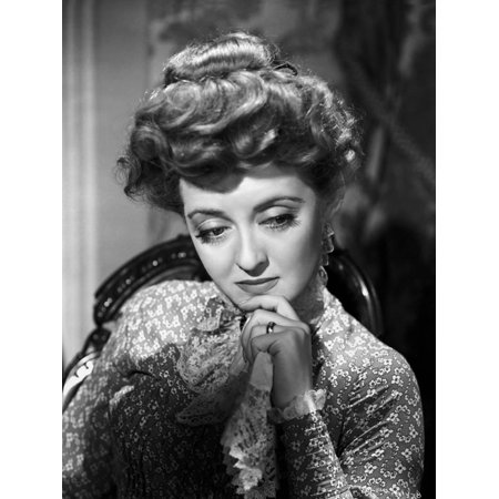 Bette Davis Portrait Hand on the Chin in Long Sleeve Silk Dress with Top Knot Hair Print Wall Art By Hurrell