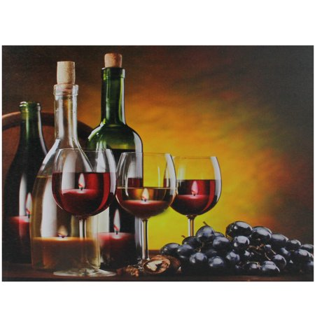 LED Lighted Flickering Wine Grapes and Candles Canvas Wall Art 11.75
