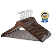 20 Pack Solid Wood Suit Hangers with Non Slip Bar and Precisely Cut Notches - 360 Degree Swivel Hook - Smooth Finish Super Sturdy and Durable Wooden Hangers