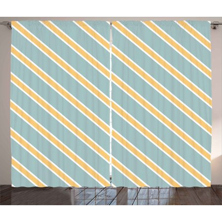 - Shabby Chic Curtains 2 Panels Set, Nostalgic Diagonal Bold and Thin Stripes Geometric Simplistic, Window Drapes for Living Room Bedroom, 108W X 63L Inches, Almond Green Apricot Cream, by Ambesonne