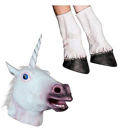Horse Mask, Unicorn Mask Collection (Unicorn Mask + Hooves), - Halloween City Horse Mask