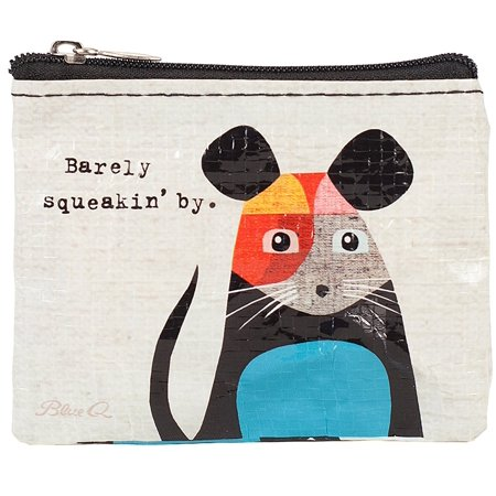Barely Squeakin' By Recycled Coin Purse, This ain't no ordinary mouse. He's sweet, petite and yet highly mature. Just like you. Art by Inaluxe. 95% post consumer.., By Blue