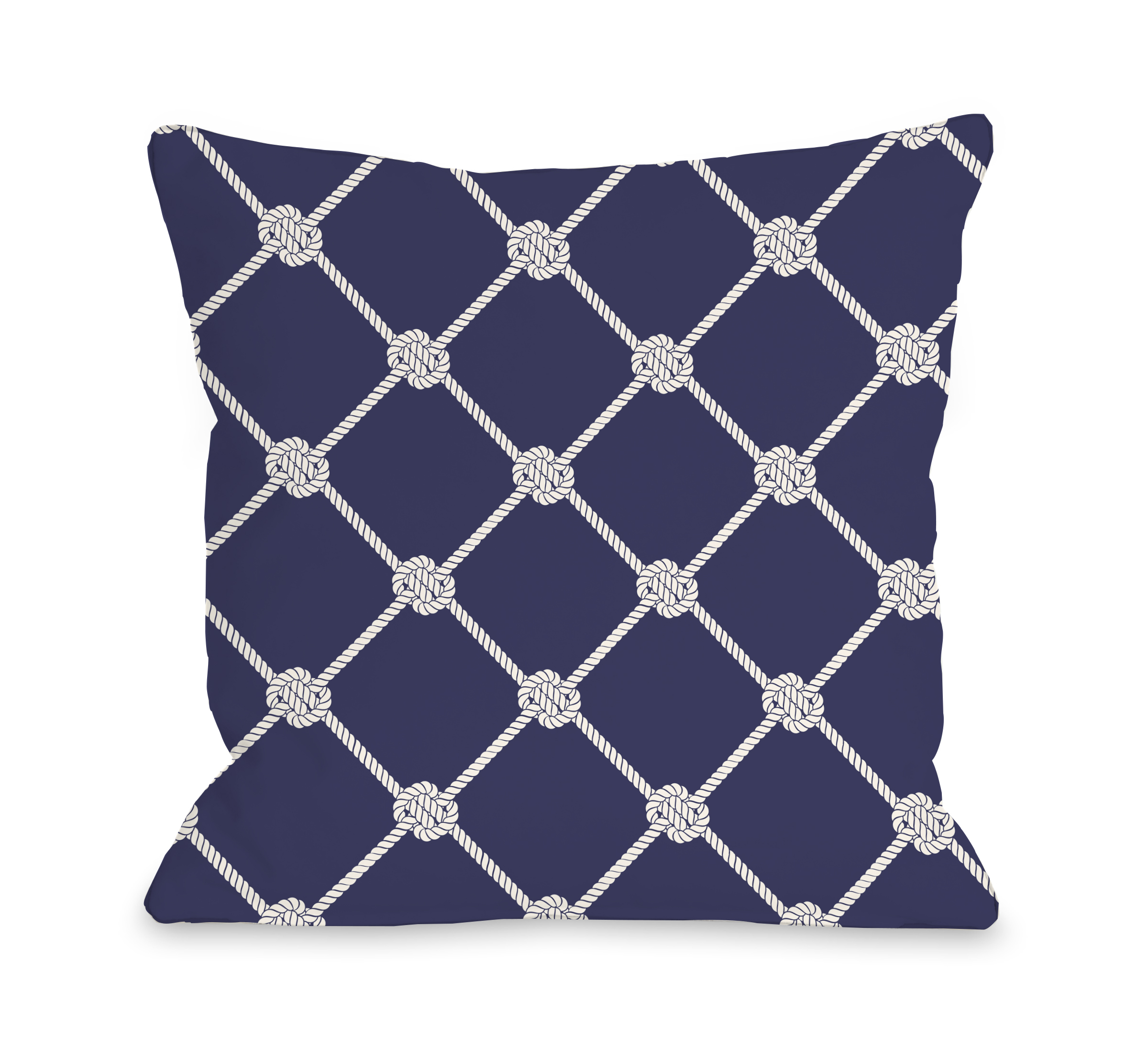 Nautical Rope Pattern - Navy 18x18 Pillow by OBC
