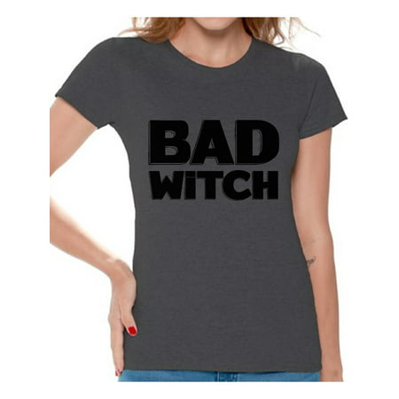 Awkward Styles Bad Witch Shirt Halloween Witch Tshirt Funny Halloween Shirts for Women Dia de los Muertos T Shirt Halloween Themed Holiday Shirts Day of the Dead Gifts for Her Trick or Treat Gifts - Themes For Halloween