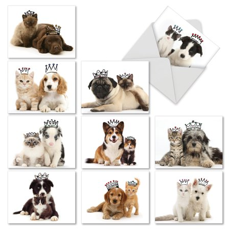 M6596TYG COPY CATS' 10 Assorted Thank You Note Cards Featuring Cats and Dogs That Have Similar Markings Wearing Crowns, with Envelopes by The Best Card