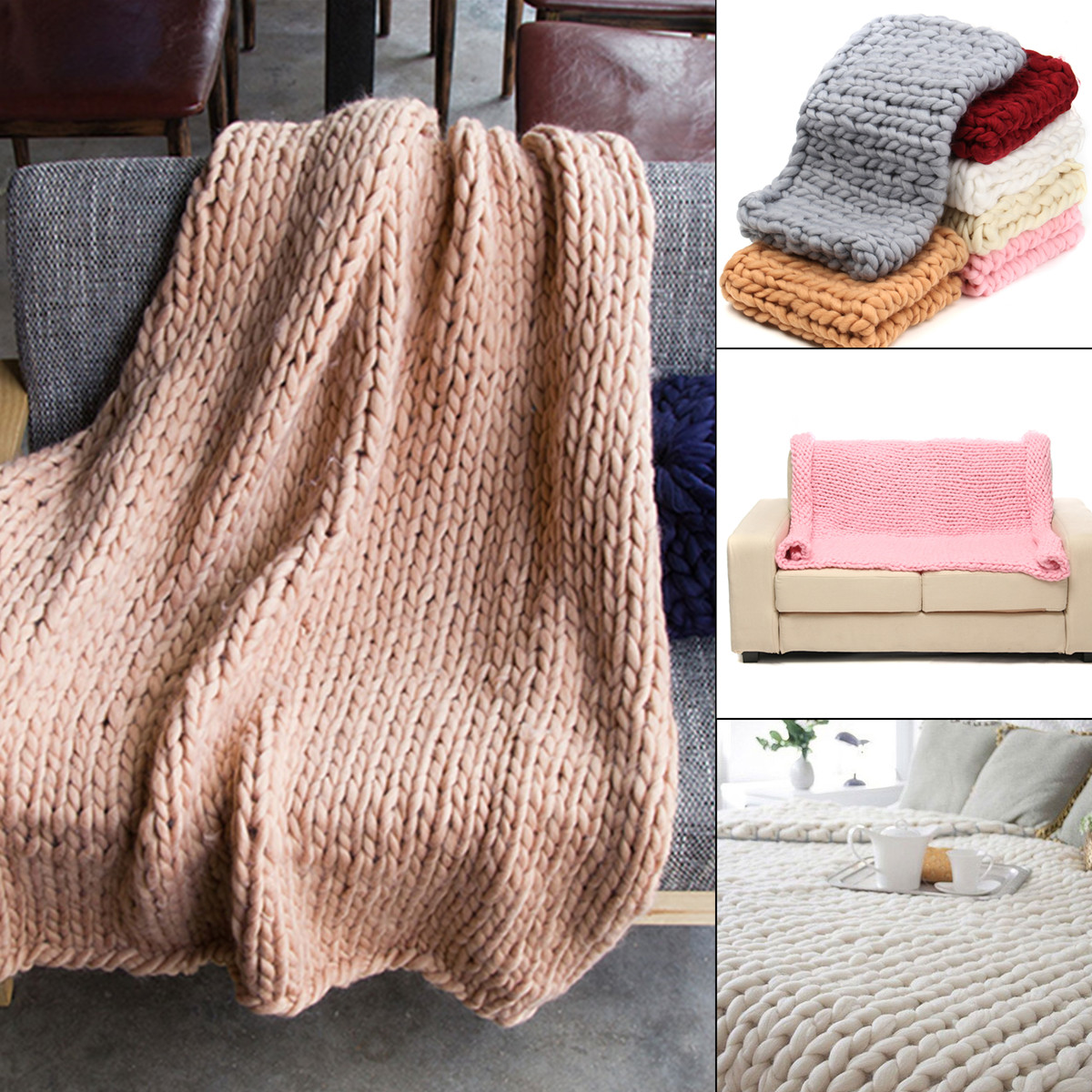 Grtsunsea Hand-woven Bulky Warm Soft Chunky Knit Bedding Blanket Thick Yarn Knitted Sofa Throw Rug - 59''x47''