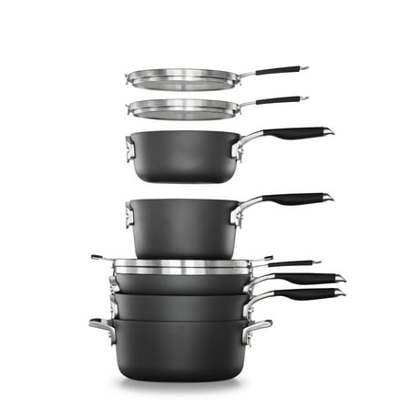 Select by Calphalon Space-Saving Hard Anodized Nonstick Pots and Pans, 14-Piece Cookware and Utensil Set