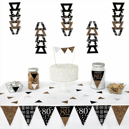 Adult 80th Birthday - Gold - Triangle Birthday Party Decoration Kit - 72 Pieces