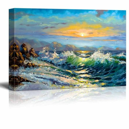 - Canvas Prints Wall Art - Big Waves in the Sea Oil Painting Style | Modern Wall Decor/Home Decoration Stretched Gallery Canvas Wrap Giclee Print & Ready to Hang - 32