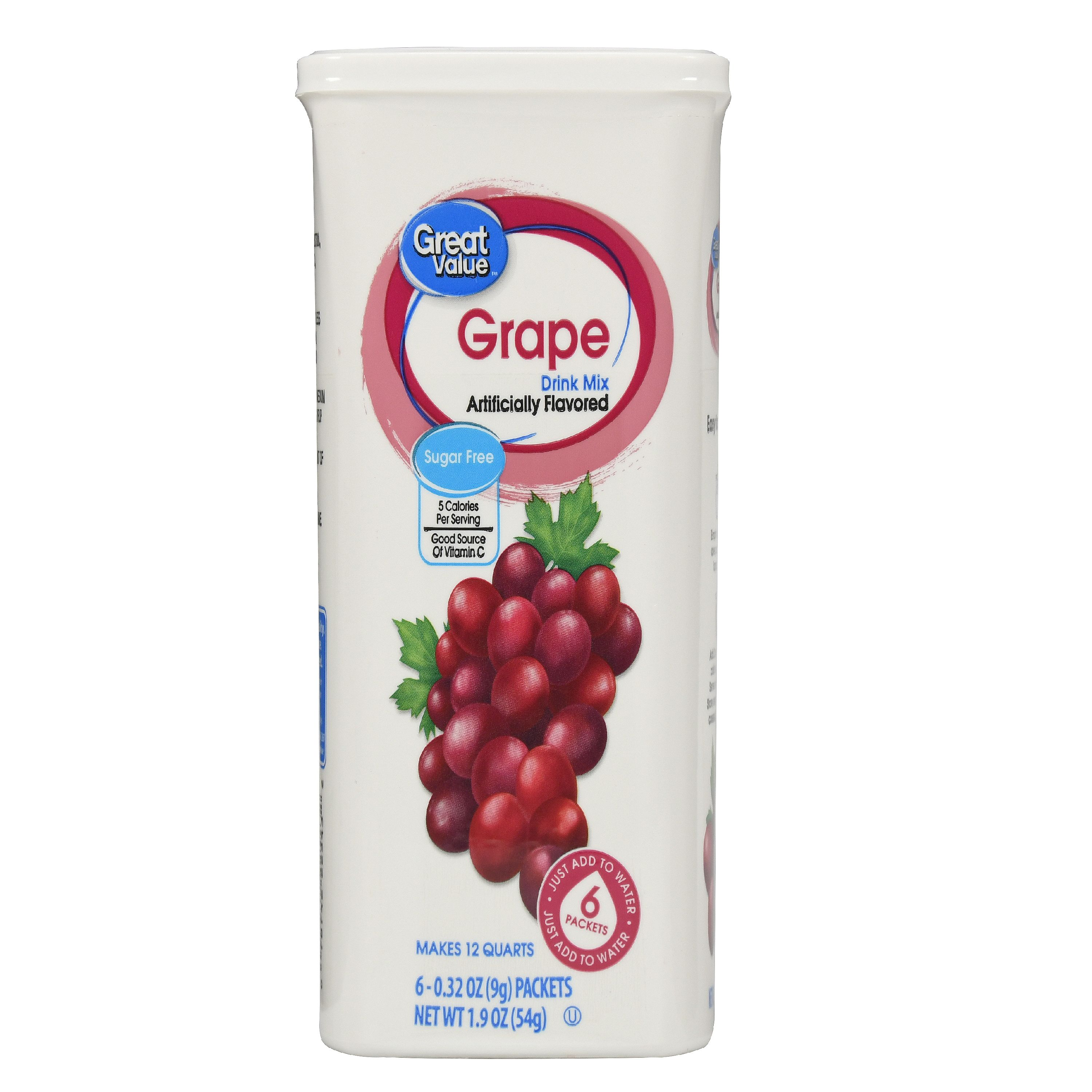 Great Value Drink Mix, Grape, Sugar-Free, 1.9 oz, 6 Count