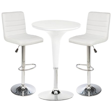 Displays2go 2  Leatherette Bars Stool set with 1 Round Cocktail Highboy Table, Chrome Base/Stand