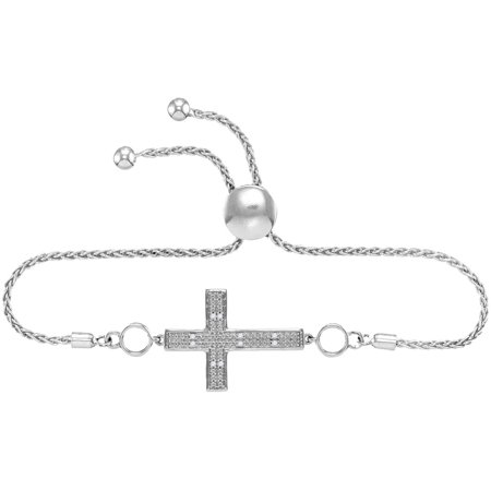 Sterling Silver Womens Round Natural Diamond Cross Faith Bolo Fashion Bracelet (.50 cttw.)
