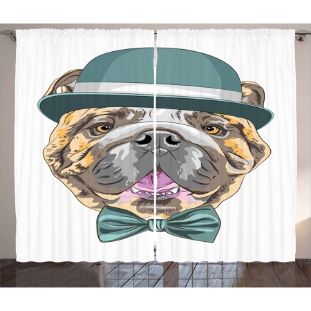 English Bulldog Curtains 2 Panels Set, Dog in a Hat and Bow Tie Animal Design with Formal Attire Pure Breed, Window Drapes for Living Room Bedroom, 108W X 108L Inches, Teal Brown Pink, by Ambesonne Formal Living Room