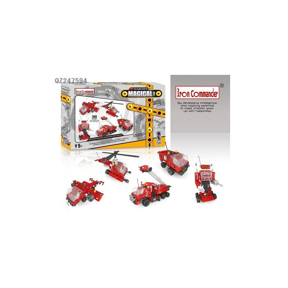 Fire truck, Helicopter, Robot & Plane Construction Model Kit (399 Pieces)