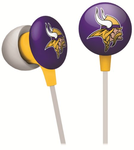 iHip NFF10200MIV NFL Minnesota Vikings Mini Ear Buds, Purple/Yellow