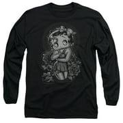 Betty Boop Fashion Roses Mens Long Sleeve Shirt