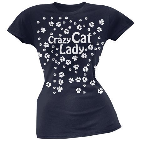 Crazy Cat Lady Paw Prints Navy Soft Juniors