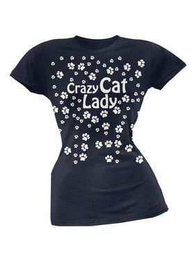fb7e6acd6 Product Image Crazy Cat Lady Paw Prints Navy Soft Juniors T-Shirt