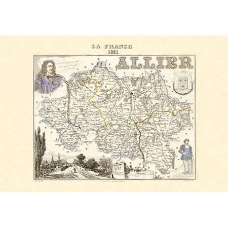 Map Of France Poster.Mid 19th Century Map Of The Regions Of France Poster Print By Par M Vuillemin