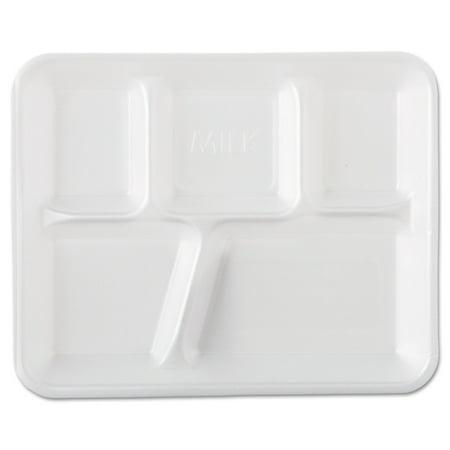 Foam Envelopes (Foam School Trays, 5-Comp, 10 2/5 X 8 2/5 X 1 1/4, White, 500/carton)