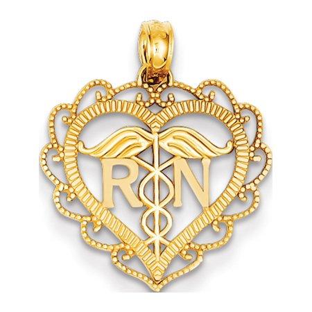 14k Yellow Gold Registered Nurse Heart (18x18mm) Pendant / Charm (14k Registered Nurse Pendant)
