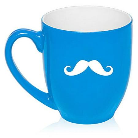 16 oz Light Blue Large Bistro Mug Ceramic Coffee Tea Glass Cup Mustache - Mustache Cups