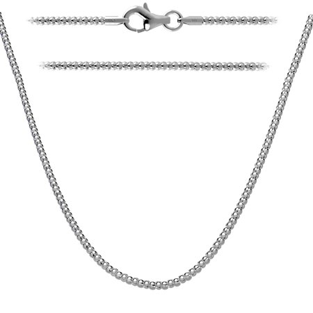Sterling Silver Popcorn Chain Necklace 14 inch