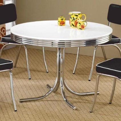 Coaster Retro Round Dining Kitchen Table in Chrome / White ()