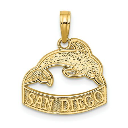 Costume Jewelry San Diego (14k Yellow Gold SAN DIEGO Banner Under Dolphins Charm)