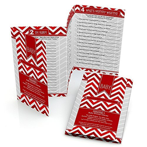 Fabulous 5 Baby Shower Games - Chevron Red - Set of 12