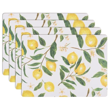 KAF Home Heat Resistant Cork Placemats | Set of 4 Easy Care Wipe Clean Cork Placemats | Lemon