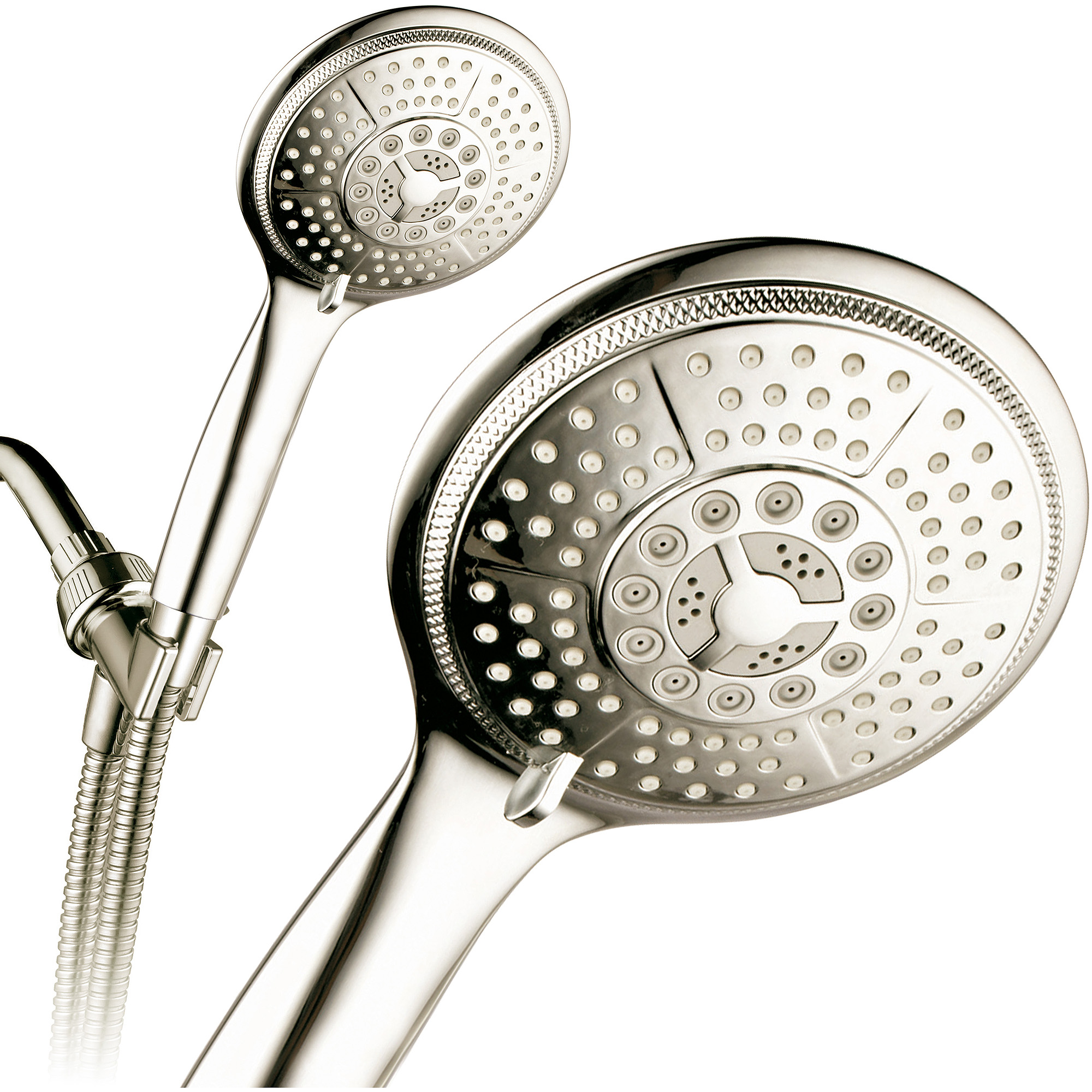"PowerSpa Extra-Large 5"" Face 7-Setting Luxury Rainfall Hand Shower, Brushed Nickel"