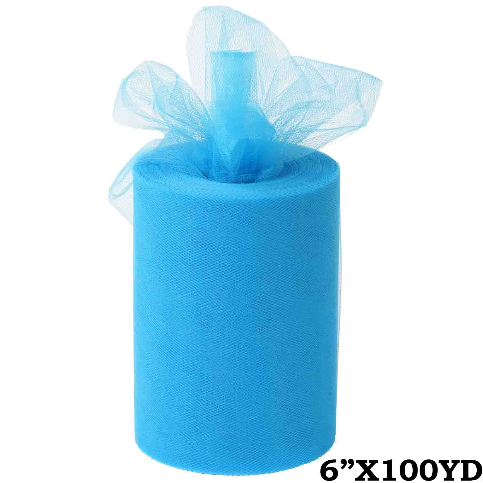 "6"" x 300 feet Wedding Tulle Roll For Crafting Favors Decor - Turquoise"